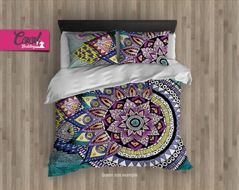 Duvet Cover, Asymmetric MANDALA, Bohemian Bedding, King Queen Full Bedding Set, Hand-Drawn Mandala Design  08