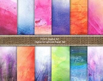 """Watercolor Digital Paper: """"WATERCOLOR PAPER"""", handmade digital papers, watercolor scrapbook, textured paper, watercolor paper pastel- DP01"""