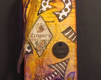 Which Way, mixed media tag with purple flower, Tim Holtz metal philosophy tag