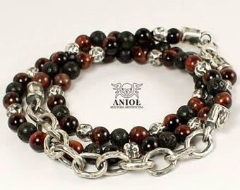 Chain Bracelet - 100% Sterling Silver - MEN JEWELRY - Rocker Jewelry- Buffalo Eye Beads