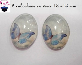 2 glass cabochons 18mm x 13mm Butterfly theme