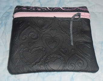 Leather Embossed Change Purse with Embroidery