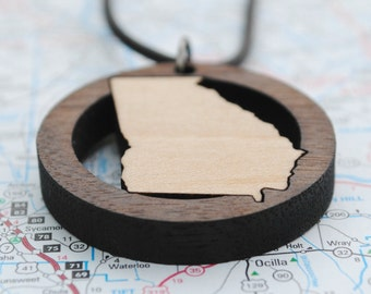 Wooden Georgia State Necklace State Love Local Neighborhood Area Code Jewelry Hometown Home State Long Distance College Going Away Gift
