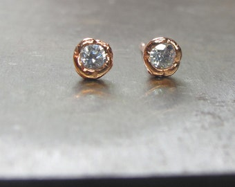 rose gold earrings, rose gold studs, small diamond rose gold stud, small rose gold earrings,dainty earrings, tiny earrings, birthday gift