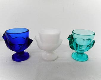 Choice of Color One (1) Mix or Match Verrerie d'Arques French Vintage Egg Cup Cobalt Blue, White or Teal (C520)