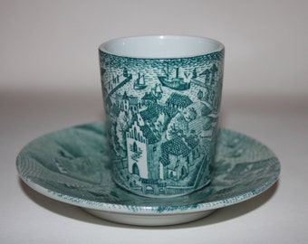 Vintage Denmark Cup and Saucer designed by Paul Hoyrup, Made by Nymolle Art Faience in Denmark Limited Edition Beautiful Scenes on Both
