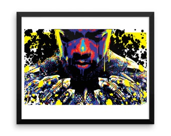 Framed Black Panther Pop Home Decor Wall Art Print