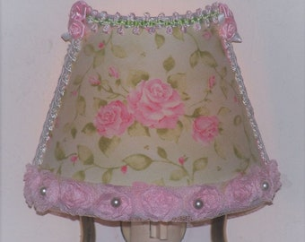 Spring Green Shabby Pink Roses NIGHT LIGHTS with Pink Satin Rose Accents