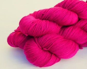 Hand dyed Double knit weight yarn 100% Superwash Merino  - raspberry pink