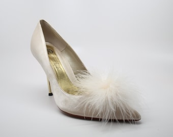 Detachable Feather Puff Pom Pom Shoe Clips  Set of Two Ivory