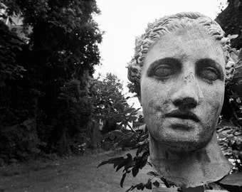 Black and White Fine Art Photograph, 16X20 Photo, Antwerp Sculpture Head, Black and White Garden Photo, Sculpture Photo