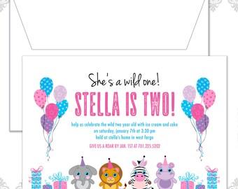 Wild One Birthday Party Invite, Stuffed animals Birthday Invitation, Safari, Stuffed Beanie Baby Invite, Two year old Birthday invite