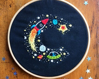 Embroidery hoop art. Custom personalised art. Kids bedroom decor. Space theme bedroom