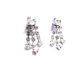Earrings Dangle Clear Rhinestone Triple Strand Screwback 1950s