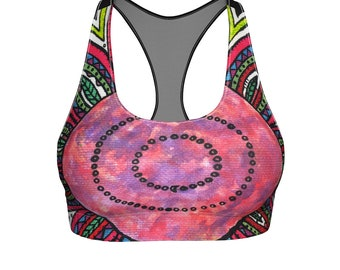 Moon Flower Sports Bra, Yoga Bra, Activewear