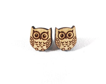 Wood Owl Earrings, Animal Earrings Studs, Owl Lover Gifts, Teen Girl Gifts, Earrings for Sensitive Ears, Stainless Steel Earrings