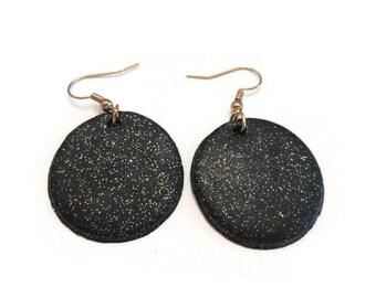 Black Shimmer Earrings, Black Glitter Earrings, Clay Earrings, Glitter Earrings, Glittery Earrings, Gold and Silver Glitter Earrings