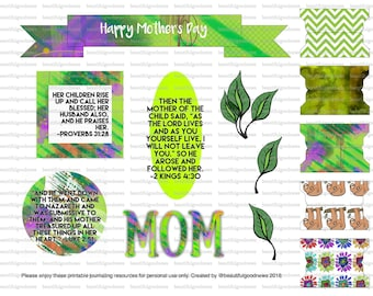 Mother's Day, Sloths, bible journaling, traceable, printable, art, faith, christian