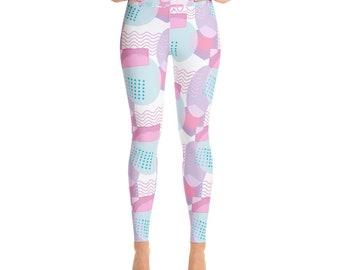 Fancy Soft Pink Prism Yoga Leggings