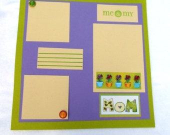 Mom 12 x 12 Scrapbook page, purple and green floral premade scrapbook layout, hand stamped, unique gift for Mother's Day or Mom's birthday