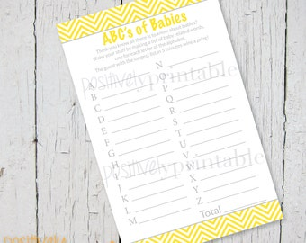 """ABC's of Babies Yellow Chevron and Gray Baby Shower Game - Printable 4 1/4"""" x 8 1/2"""""""