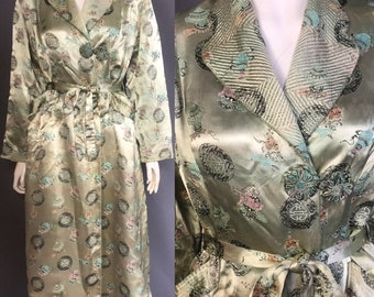 1940s oriental brocade dressing gown robe
