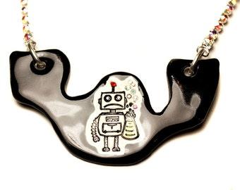 Robot Sparkle Surly Ceramic Necklace in Black