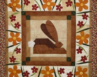 My Secret Garden Spring Bunny Quilt Pattern With Free Buttons & Free Shipping Included