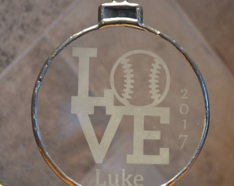 Free Shipping   Personalized Baseball/Love Etched Glass Ornament   Personalized Christmas Ornament   Baseball Lover Gift   2017 Ornament
