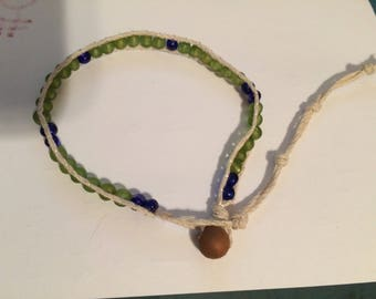 Frosted Green and Blue Beaded Bracelet