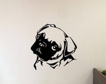 Cute Little Pug Puppy Vinyl Wall Decal (Comes in multiple colors & sizes)