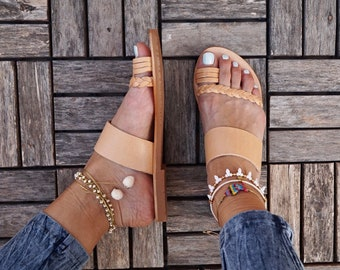 Electra leather sandals, ancient greek sandal,flat shoe
