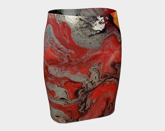 Red Swirls Fitted Skirt: A new and exciting skirt just for you. For spring, summer, fall