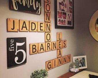 "Letter Tiles - ""Scrabble"" Style - Gallery Wall - Wall Art - Wall Display - Lettered Tiles - Crossword - Scrabblets - Letter Blocks"