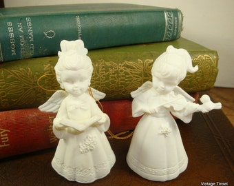Vintage Christmas Angel Ornaments, Musical, White Molded Hard Plastic,Musical, Set of 2, New Old Stock, Made in Hong Kong, No. Two  (519-15)