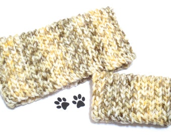 Dog Scarf Neck Warmer Cowl Pet Neckwarmer Cream Gold Brown Dog Collar Pet Dog Clothes Puppy Dog Snood Winter Cowl Crochet Scarf Chunky Cozy