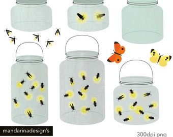 Mason Jar Fireflies, light bug, handrawn clipart Digital Clip Art Graphics for Scrapbooking Web design DIY Printable Instant Download