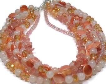 Multistrand Statement Necklace, Mixed Gemstone Necklace, Layered Gemstone, Multi Strand Necklace, Pink Grapefruit, Chunky, Boho Jewelry