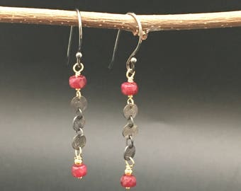 Oxidized sterling silver coin chain with faceted Ruby rondelles and 14k gold fill earrings, earrings under 100