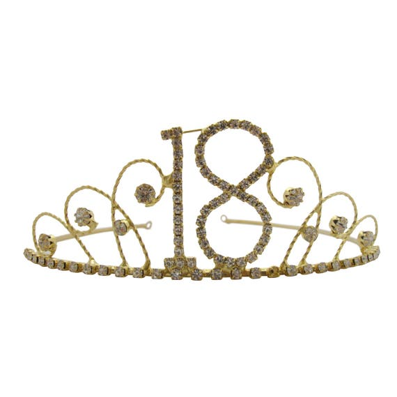 18th Birthday Diamante Crystal Tiara Gold Plated Finish