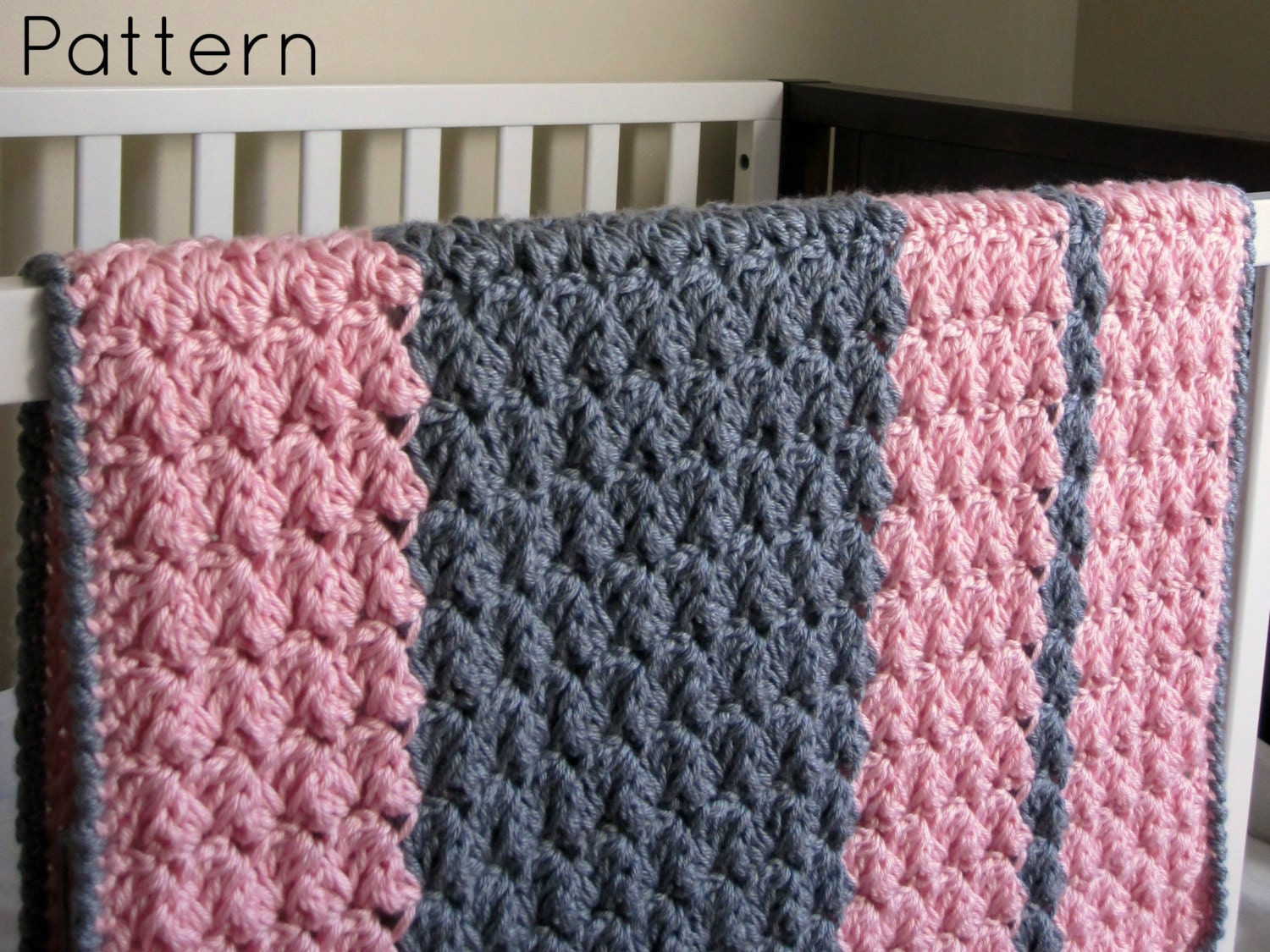 Chunky Preppy Baby Reversible Crochet Blanket Pattern