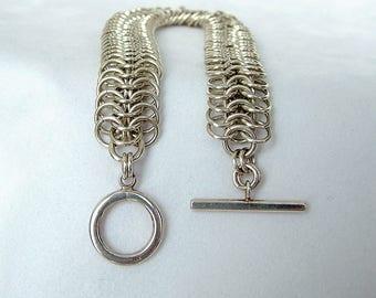 Sterling Silver 29.65 Gram 6 in 1 Chainmail Bracelet, Silver Toggle Bracelet, Silver Chainmaille Bracelet, Silver Charm Bracelet