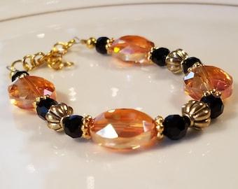 Orange & Black Bracelet, orange beaded bracelet, orange bracelet, fall bracelet, bracelets, gold bracrlet, bracelets, beautiful