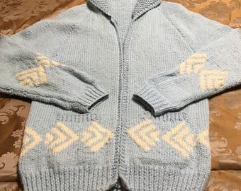 Vintage Baby Blue Chevron Pattern Cowichan Sweater, Vintage Cowichan Sweater,