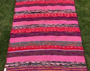 Indian Hand Woven Rag Rug, Pink Indian Tapestry Striped Handmade Rug, Colorful and Bright, Vintage Rug, Bohemian Decor, Bath Mat