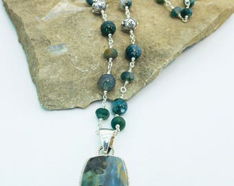 Moss Agate and Sterling Silver Pendant Necklace