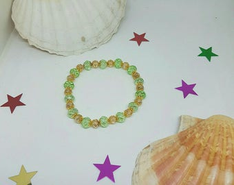Salmon and green Crystal beaded bracelet