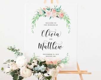 Delicate Bouquet Wedding Day Large Welcome Easel Display Sign