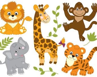 Safari Animals Clipart - Digital Vector Safari Animals, Lion, Tiger, Elephant, Clip Art