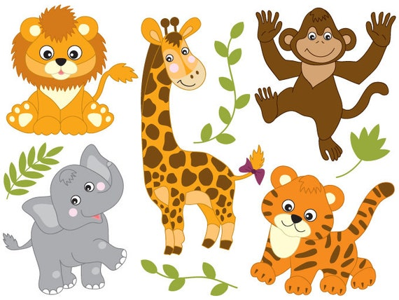 Safari Animals Clipart Digital Vector Safari Animals Lion